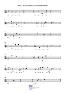 Worte Erkennen - Notenübung im Violinschlüssel
